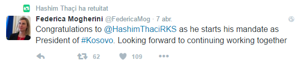 Federica Mogherini, responsable de Exteriores de la UE, felicita a Hashim Thaci por su toma de posesión como Presidente de Kosovo